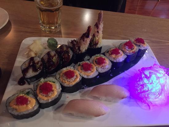 Matsu Japanese Restaurant: tuna on rice, shrimp tempura roll and parrot roll