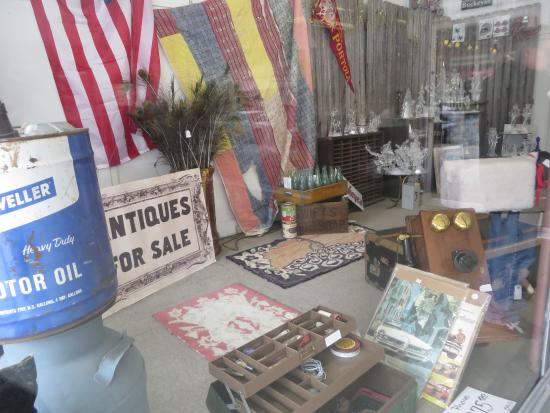 Penny Court Antiques: Some of the awesome antiques in this store through the front window