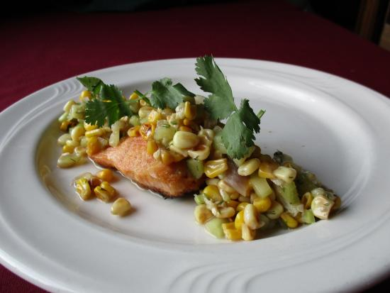 Canastota, NY: Grilled Salmon with Roasted Corn & Cucumber Relish (amazing)