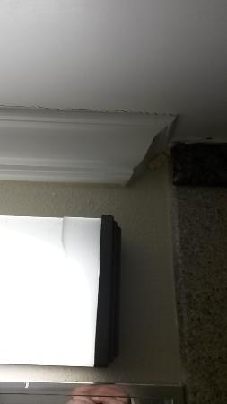 Lomita, Kalifornia: Broken light fixture bar of soap between crown molding and tile
