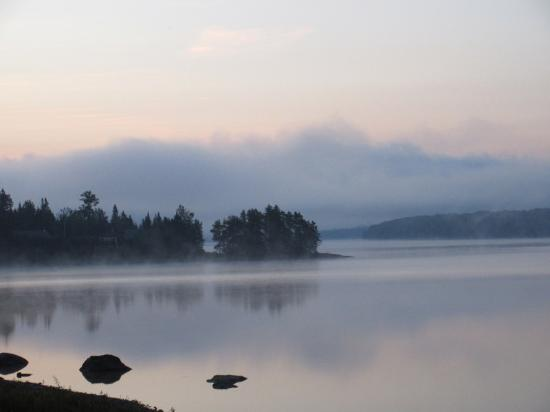 Pittsburg, NH: Morning Fog on one of the Conneticut Lakes