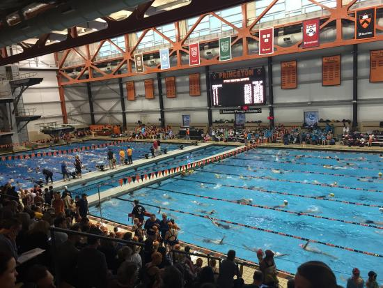 Here for a swim meet great pool but a crowded seating - Princeton university swimming pool ...