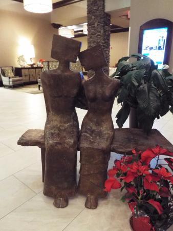 Embassy Suites by Hilton Saratoga Springs: Decorations in the lobby are unique and inviting!