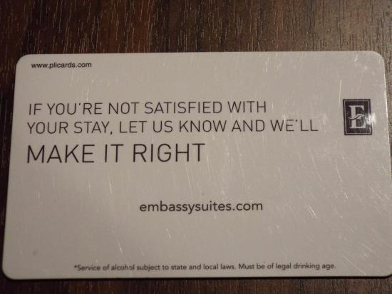 Embassy Suites by Hilton Saratoga Springs: Love their motto!