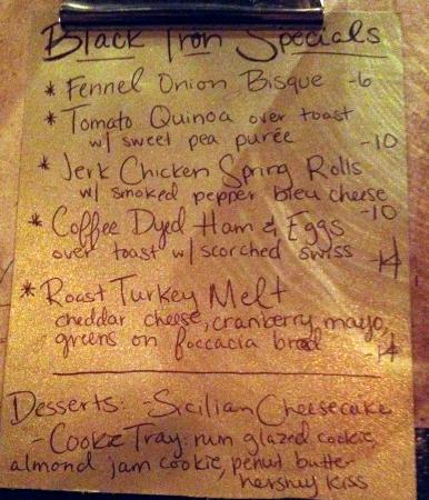 Blasdell, نيويورك: Specials menu