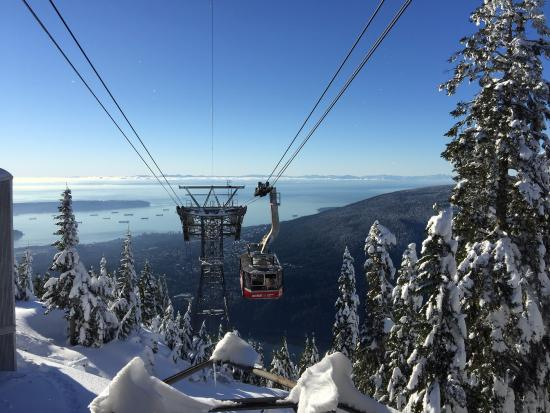 Grouse Mountain At The Top Gondola Arriving