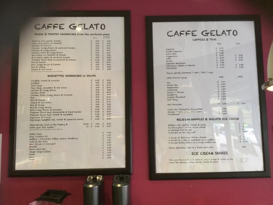 simple menus picture of caffe gelato upminster tripadvisor