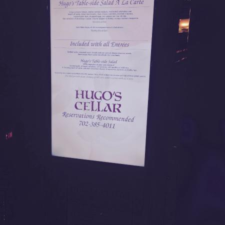 Hugou0027s Cellar Menu at the entrance. & Menu at the entrance. - Picture of Hugou0027s Cellar Las Vegas ...
