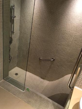 Odd step-down shower/bath area. Bath takes forever to fill up ...