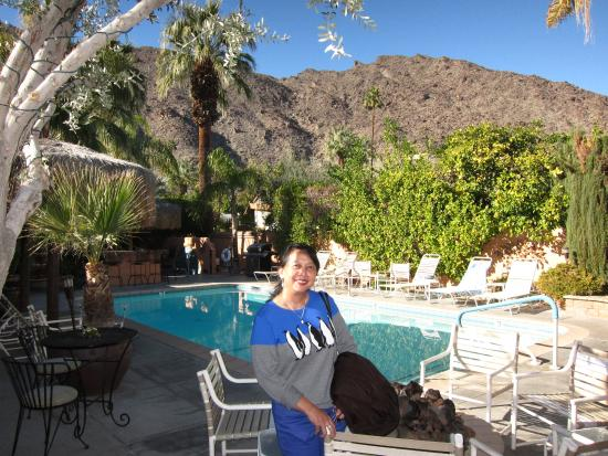 The Coyote Inn: Pool area and mountains
