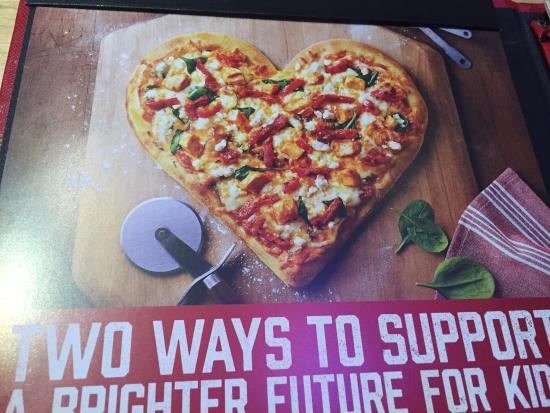 Heart shaped pizza promo, Boston Pizza  |  2180 Saskatchewan Avenue W, Portage la Prairie, Manit
