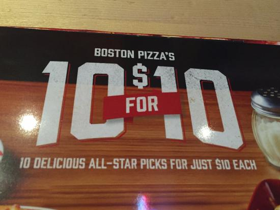 Sports lovers 10 for $10, Boston Pizza  |  2180 Saskatchewan Avenue W, Portage la Prairie, Manit
