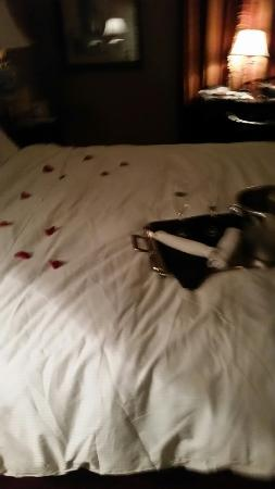 Delafield, WI: rose petals and chocolates placed in room