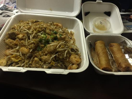 Combination fried rice and egg rolls (Take out)