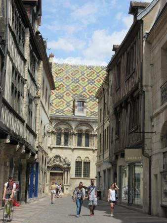 Rue Des Forges: Intricate patterns in roof tiles, Dijon, June 2015