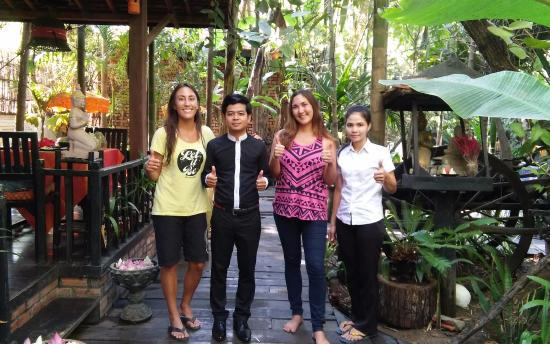Petit Villa Boutique & Spa: Us with Sophea, super nice worker we became friends with during our stay!