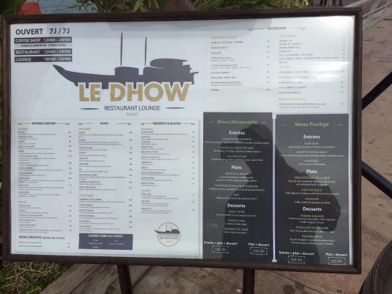 Le Dhow: Menu