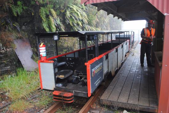 The Denniston Experience : The Gorge Express train awaiting at the station on a misty day