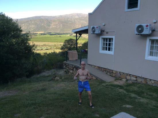 The Baths: A chalet and view from braai area