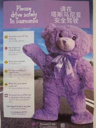 Tasmania, Australia: 運転の注意も英語と中国語表記