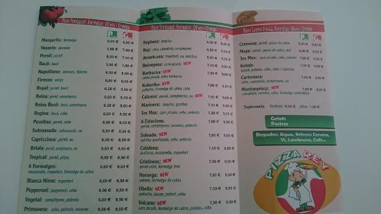Santa Cristina d'Aro, Espagne : Menu Pizzas