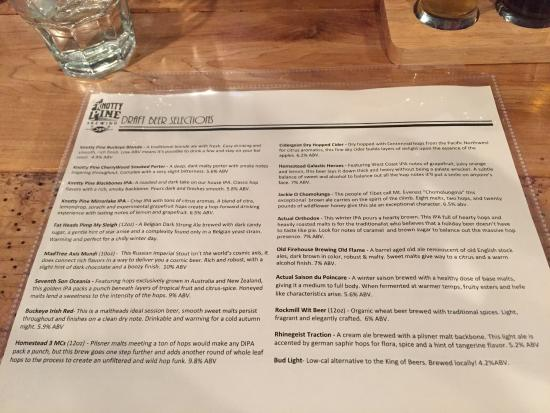 Beer List - Picture of Knotty Pine Brewing, Columbus
