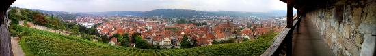 Esslingen am Neckar, Germany: View from the top of wooden stairs/castle wall on the old town centre with vineyard