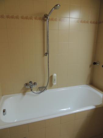 Hotel Krone: Shower with no shower curtain