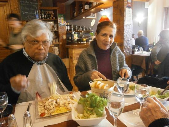 Le Faouet, Fransa: tagliatelli au poulet, crepe noix St, Jacques