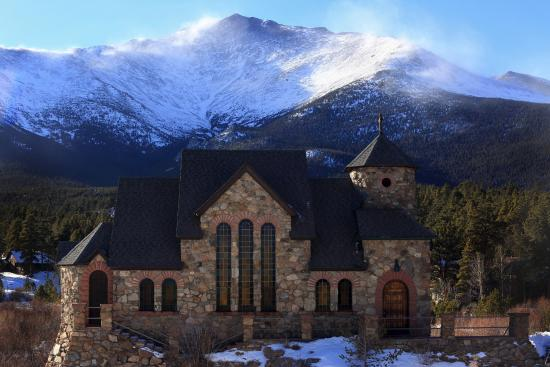 Allenspark, Colorado: St. Malo's with Snow Swirling of the ridges of Mt. Meeker