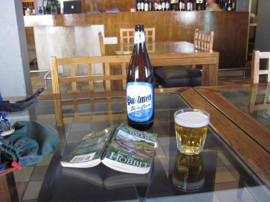 Los Penitentes, Argentinien: Enjoyed the ambience, a beer, and a book while waiting for my ride back to Mendoza.