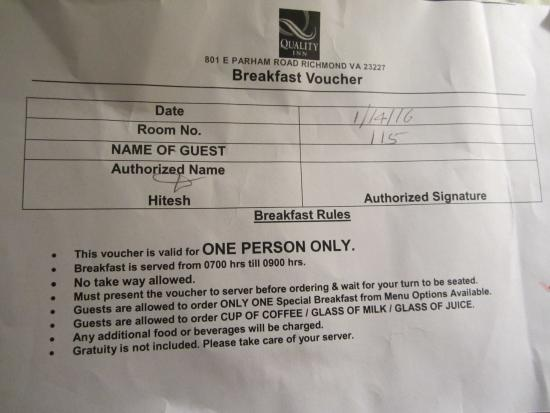 Quality Inn North: BREAKFAST VOUCHER