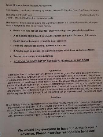 Holiday Inn Cape Cod-Falmouth: Hotel Knee Hockey Rules for a fee