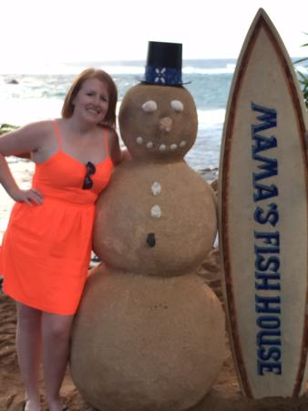 Paia, Hawaje: Clever substitute for snowman!