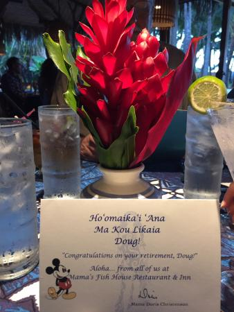 Paia, Hawaje: Pleasant surprise when we were taken to our table
