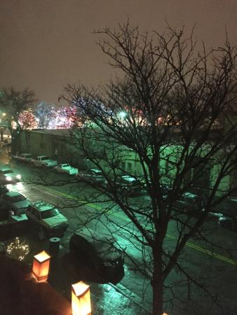 Rosewood Inn of the Anasazi: View from 301 - That's the plaza w/colored lights on trees!