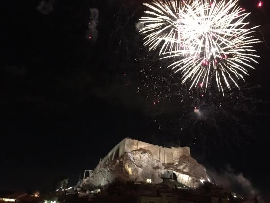 New Year's Eve Fireworks over the Acropolis from Hotel Phaedra