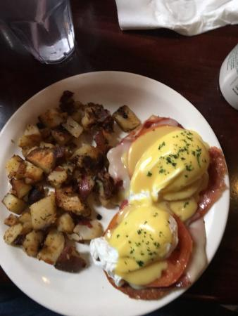 Weymouth, MA: Niko's Tuscan Benedict. Perfectly poached eggs on a grilled English muffin with Prosciutto, toma