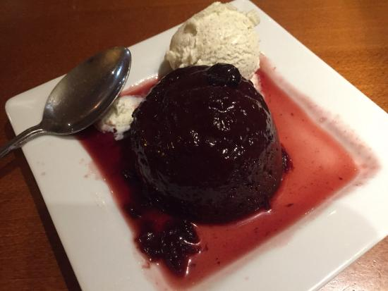 Oswestry, UK: Chocolate and cherry pudding with ice cream cost 4.99  value for money no