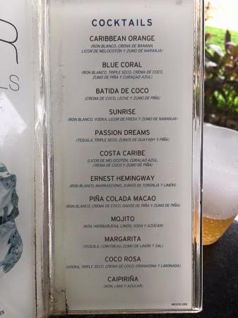 Bar Menu Picture Of Hotel Riu Palace Mexico Playa Del