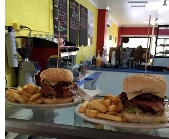 Adelong Cafe Burger with the lot