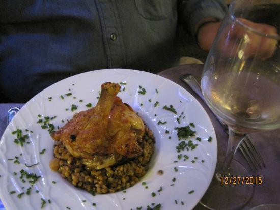 O Papilles - Le Restaurant: Guinea Hen stuffed w/Foie Gras over Bulgar with Raisins