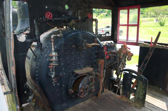 Townsend, TN: Inside the cab of the engine.