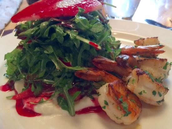 Harlan Social: The Beet and Goat Cheese Salad With The Addition of Grilled Shrimp