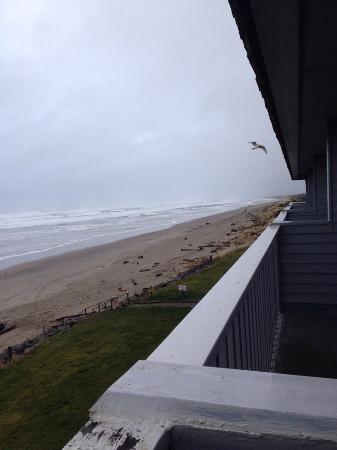 Surfside Resort: looking down the beach,,