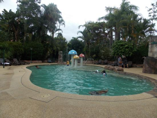 Ashmore Palms Holiday Village: Kids enjoying the pool with part of rain forest walk in background.