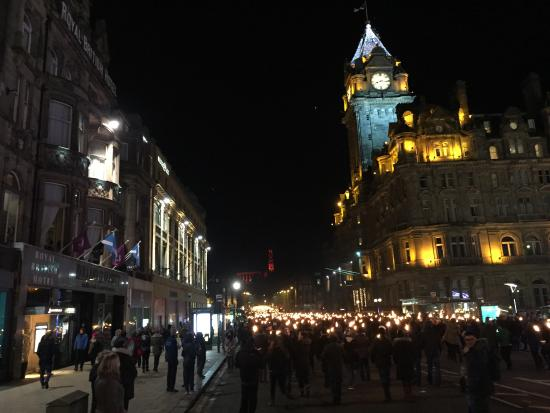 The Balmoral Hotel: The Balmoral during Hogmanay Torchlight Procession