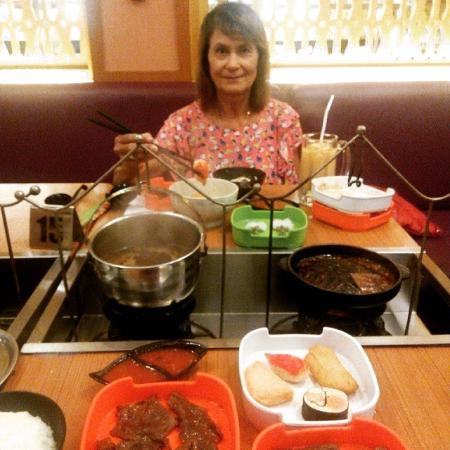 my mom enjoying the suki picture of raa cha kelapa gading jakarta rh tripadvisor ca