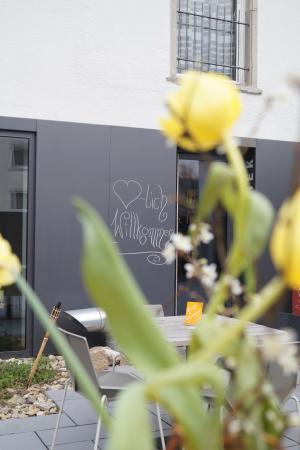 Hör Gästezimmer: Weinterrasse im Frühjahr