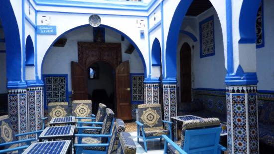Patio interior Hotel Mauritania Chefchaouen Marruecos